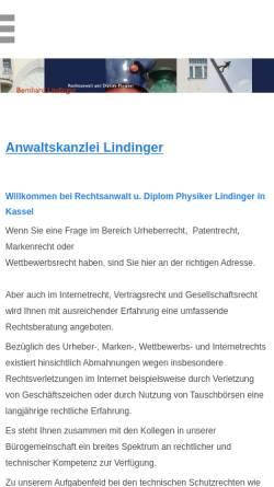 Vorschau der mobilen Webseite www.ra-lindinger.de, Rechtsanwalt und Diplom Physiker Bernhard Lindinger