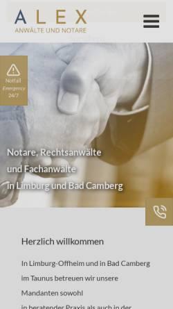 Vorschau der mobilen Webseite alex-anwalt.de, ALEX Rechtsanwälte & Notare