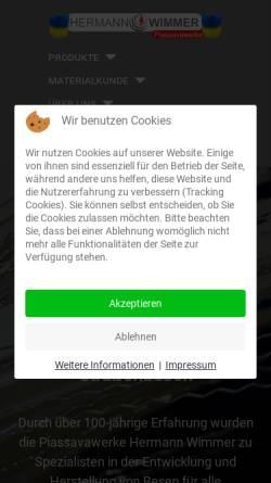 Vorschau der mobilen Webseite www.wimmer-buersten.de, Piassavawerke Hermann Wimmer e.K.