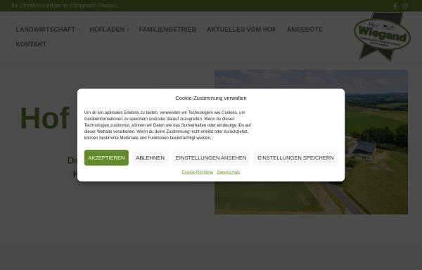 Vorschau von www.hof-wiegand.de, Hof Wiegand, Direktvermarkter