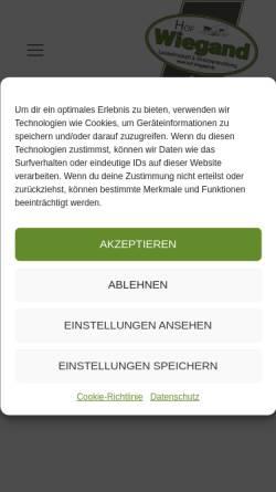 Vorschau der mobilen Webseite www.hof-wiegand.de, Hof Wiegand, Direktvermarkter