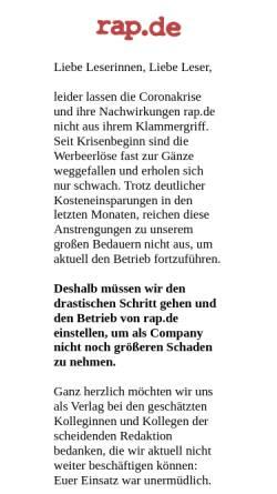 Vorschau der mobilen Webseite rap.de, Rap.de