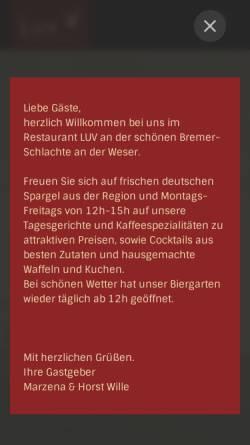 Vorschau der mobilen Webseite restaurant-luv.de, LUV Restaurant