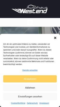 Vorschau der mobilen Webseite www.autohaus-westend.de, Autohaus Westend