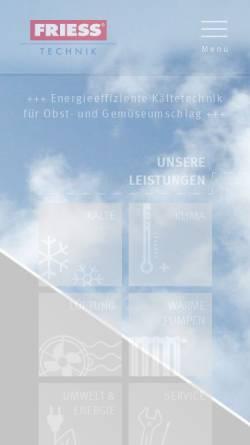 Vorschau der mobilen Webseite www.friess-klima.de, Friess GmbH