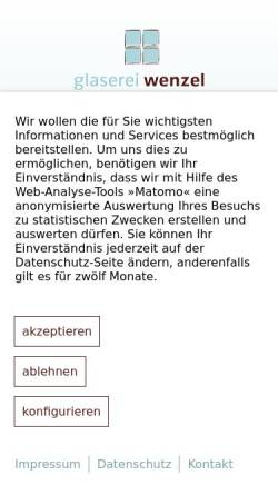 Vorschau der mobilen Webseite www.glaserei-wenzel.de, Glaserei Peter Wenzel