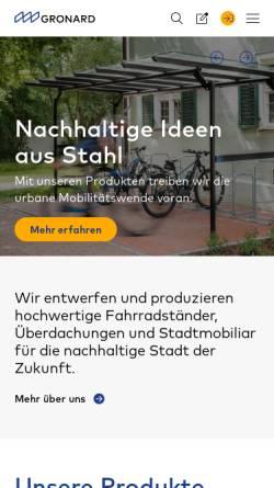 Vorschau der mobilen Webseite www.gronard.de, Gronard Schweisswerk-Stahlbau GmbH