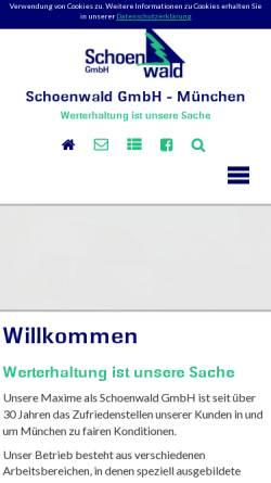 Vorschau der mobilen Webseite www.schoenwaldgmbh.de, Schoenwald GmbH