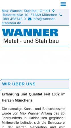 Vorschau der mobilen Webseite www.wanner-stahlbau.de, Wanner Stahlbau GmbH