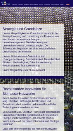 Vorschau der mobilen Webseite www.ecomotive.at, Ecomotive - Beratung in Umweltfragen, Inh. Mag. Christian Hochstöger