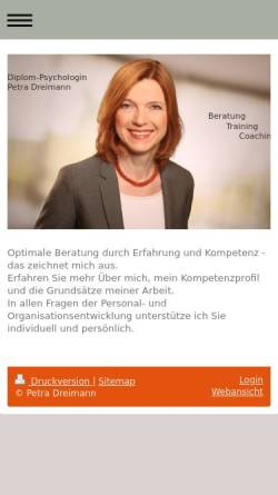 Vorschau der mobilen Webseite www.petra-dreimann.de, Petra Dreimann - Team für Personal- und Organisationentwicklung