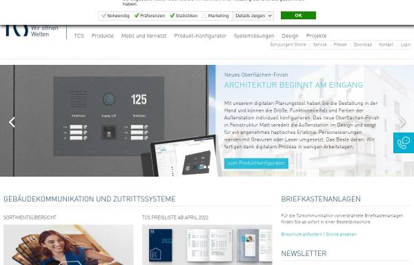 Vorschau von www.tcs-germany.de, TCS TürControlSysteme GmbH Genthin
