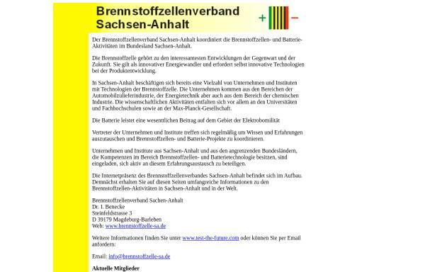 Vorschau von www.brennstoffzelle-sa.de, Brennstoffzellenverband Sachsen-Anhalt
