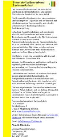 Vorschau der mobilen Webseite www.brennstoffzelle-sa.de, Brennstoffzellenverband Sachsen-Anhalt