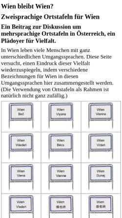 Vorschau der mobilen Webseite www.gemi.at, Zweisprachige Ortstafeln für Wien
