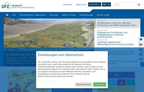 Vorschau von www.ufz.de, Helmholtz-Zentrum für Umweltforschung GmbH - UFZ