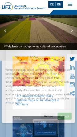Vorschau der mobilen Webseite www.ufz.de, Helmholtz-Zentrum für Umweltforschung GmbH - UFZ