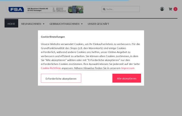 Vorschau von www.fsamasch.com, FSA Maschinen & Handels AG