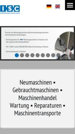 Vorschau der mobilen Webseite www.iscmaschinen.de, ISC Werkzeugmaschinen GmbH