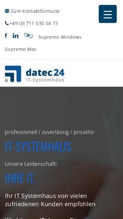 Vorschau der mobilen Webseite www.datec24.de, datec24 - IT Systemhaus