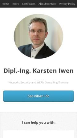 Vorschau der mobilen Webseite www.iwen.de, Dipl.-Ing. Karsten Iwen, CCIE