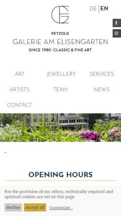 Vorschau der mobilen Webseite www.galerie-am-elisengarten.de, Galerie Am Elisengarten GmbH