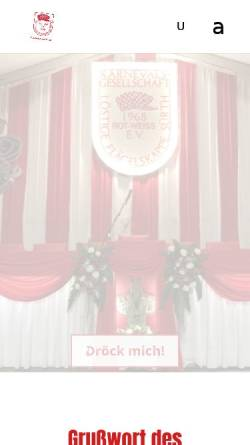 Vorschau der mobilen Webseite flaegelskappe.de, K.G. Löstige Flägelskappe Sürth, Rot-Weiß 1968 e.V.