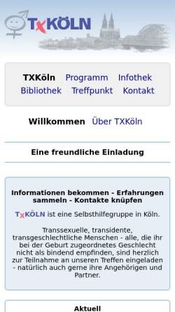 Vorschau der mobilen Webseite www.txkoeln.de, TXKöln - Selbsthilfegruppe und Treffpunkt in Köln