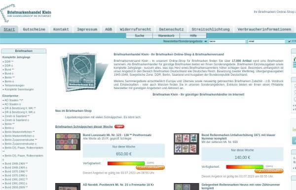 Vorschau von www.briefmarken-klein.de, Briefmarkenhandel Klein