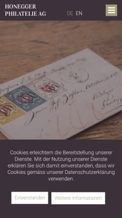 Vorschau der mobilen Webseite www.ghonegger.ch, Gottfried Honegger Alt-Schweiz Briefmarken (CH)