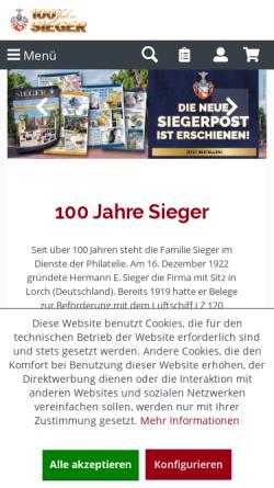Vorschau der mobilen Webseite www.briefmarken-sieger.de, Hermann E. Sieger