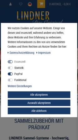 Vorschau der mobilen Webseite www.lindner-original.de, Lindner-Falzlos GmbH
