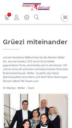 Vorschau der mobilen Webseite www.marken-mueller.ch, Marken Müller AG (CH)