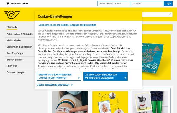 Vorschau von onlineshop.post.at, Philatelie Shop Online - Österreichische Post AG