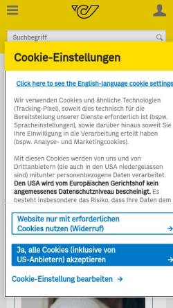 Vorschau der mobilen Webseite onlineshop.post.at, Philatelie Shop Online - Österreichische Post AG