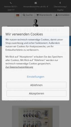 Vorschau der mobilen Webseite www.hausderbriefmarke.de, Thomas Gompf - Haus der Briefmarke