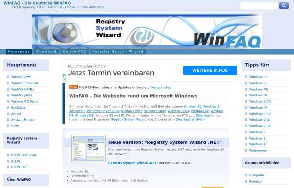 Vorschau von www.winfaq.de, Windows FAQ