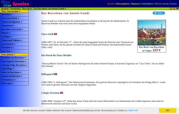 Vorschau von www.red2000.com, Das Barcelona von Antoni Gaudí
