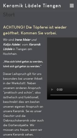 Vorschau der mobilen Webseite www.keramik-laedele.de, Töpferei Keramik-Lädele