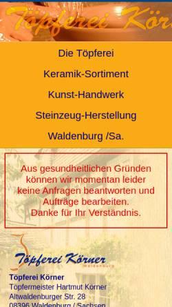 Vorschau der mobilen Webseite www.toepferei-koerner.de, Töpferei Körner