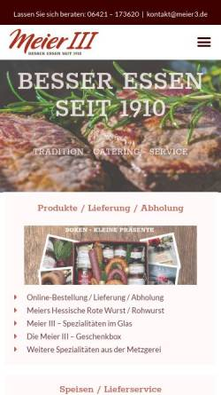 Vorschau der mobilen Webseite www.meier3.de, Heinrich Meier III & Sohn e.K.