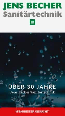 Vorschau der mobilen Webseite www.jens-becher-sanitaer.de, Jens Becher Sanitärtechnik