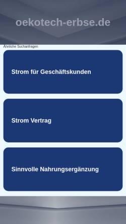 Vorschau der mobilen Webseite www.oekotech-erbse.de, Ökotech Erbse Hamburg