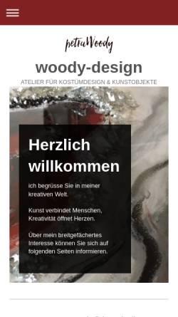 Vorschau der mobilen Webseite woody-design.de, Petra Woody - Atelier für Kostümdesign