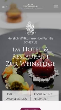 Vorschau der mobilen Webseite www.zur-weinsteige.de, Hotel Zur Weinsteige