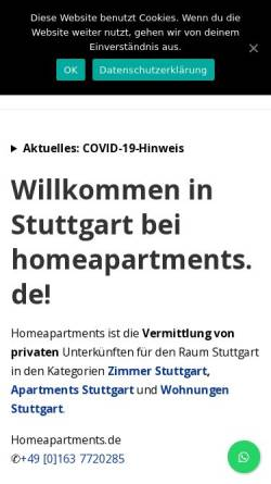Vorschau der mobilen Webseite www.homeapartments.de, Homeapartments.de