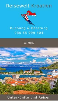 Vorschau der mobilen Webseite www.reisewelt-kroatien.de, Reisewelt Kroatien