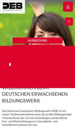 Vorschau der mobilen Webseite www.deb.de, Deutsches Erwachsenen-Bildungswerk gGmbH (DEB)
