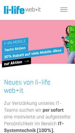 Vorschau der mobilen Webseite www.li-life.li, li-life Webdesign