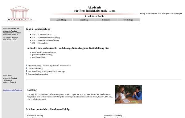 Vorschau von www.akademie-pontius.de, Pontius - Akademie für Persönlichkeitsentfaltung